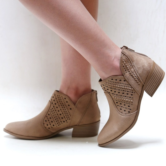 883feb62352 Taupe V Cutout Braided Ankle Booties Western Boots Boutique